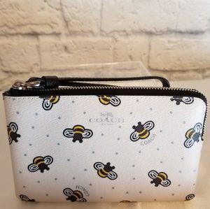 Coach Bee + Star Print Corner Zip Wristlet Wallet